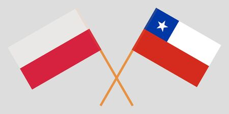 Chile and Poland. The Chilean and Polish flags. Official colors. Correct proportion. Vector illustration