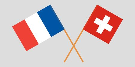 Switzerland and France. Crossed Swiss and  French flags. Official colors. Correct proportion. Vector illustration