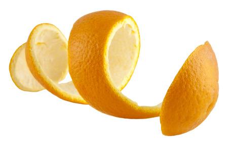 Photo pour Orange peel against white background - image libre de droit