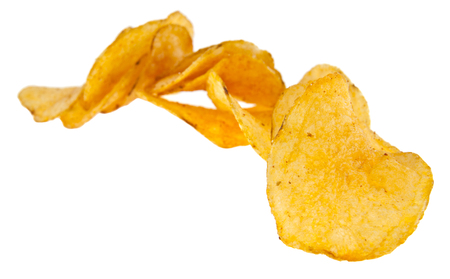 Photo pour crispy potato chips isolated on white background. As an element of packaging design - image libre de droit