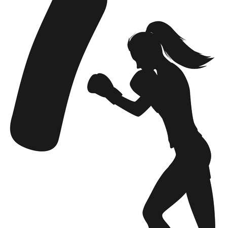 Boxing woman exercises with punching bag. Silhouette isolated on white background. Vector illustration.