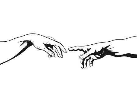 Adam and God hands vector illustration