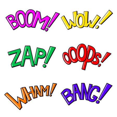 Comics text sound effects  Phrases Boom, Wow, Zap, Oops