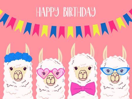 Ilustración de Cute llama, alpaca for poster, greeting, birthday card and party decor. Vector illustration - Imagen libre de derechos