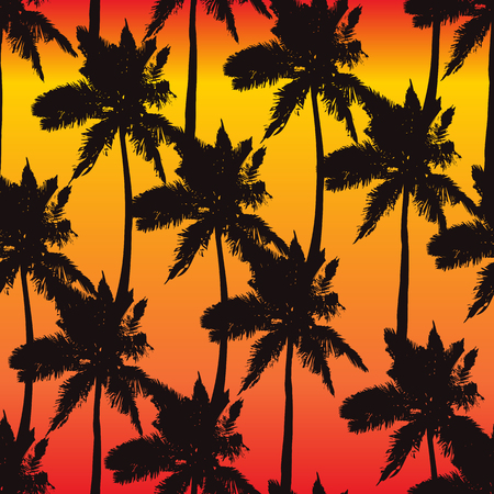 Illustration for Palm trees seamless pattern on sunset background. Print for fabric, wallpaper or giftwrap. Vector illustration - Royalty Free Image
