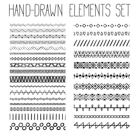 Illustration pour Collection of simple hand-drawn pattern with geometric ornament. Vector illustration - image libre de droit