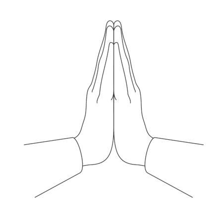 Illustration pour Mudra Namaste. Hands folded in a welcome gesture. Vector illustration - image libre de droit
