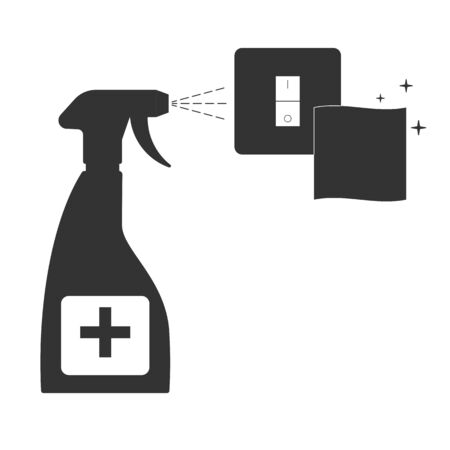 Illustration pour Cleaning the light switch. House cleaning. vector illustration - image libre de droit