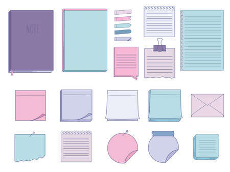 Ilustración de Collection of papers for memo - notepads, stickers, notebooks isolated on white background. Vector illustration - Imagen libre de derechos