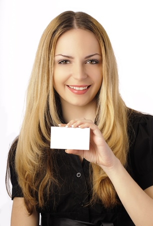 Pretty girl holding a blank business card