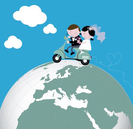 Illustration pour Newlyweds ride scooter honeymoon - image libre de droit