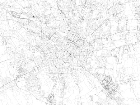 Vektor für Map of Milan, satellite view, streets and highways, Italy - Lizenzfreies Bild