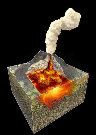 Section of a volcano, 3d rendering