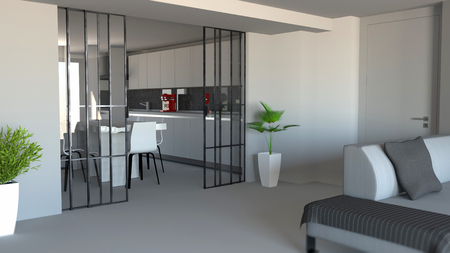 Foto per Sliding door, living room and kitchen partition, modern apartment entrance, industrial style. 3d rendering - Immagine Royalty Free