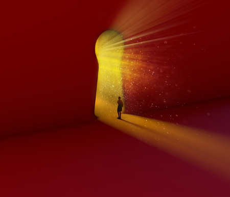 Photo pour Keyhole, girl looking through. Entrance, portal in the shape of a keyhole. Concept, job opportunities, path to follow. Future, fantasy. 3d render - image libre de droit