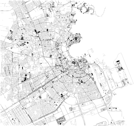 Photo pour Satellite map of Doha the capital and most populous city of the state of Qatar. Map of streets and buildings of the town center. Asia - image libre de droit
