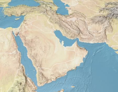 Photo pour Satellite view of the Arabian Peninsula. Map. Saudi Arabia, Yemen, Oman, United Arab Emirates, Syria, Iran, Iraq, Qatar, Kuwait, Turkey. Elements of this image are furnished by Nasa. 3d render - image libre de droit