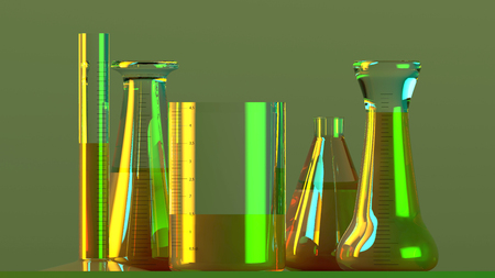 Laboratory and biohazards study, analysis and testing with receptacles and containers for liquids on a table. Viruses and bacteria, 3d render