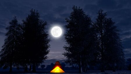 Foto de Tent, outdoor life, camping, social distancing. Holidays. Trees and nature. Night and moon shining in the woods. Unspoiled nature. New holidays during covid-19. An illuminated tent in the middle of the night. 3d render - Imagen libre de derechos