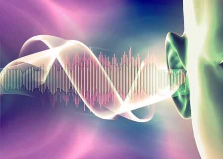 Photo for Hearing problems and solutions. Ultrasound. Deafness. Advancing age and hearing loss. Soundwave and equalizer bars with human ear. 3d render. Sense of hearing, sound and music graphic concepts - Royalty Free Image