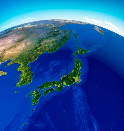 Photo pour Globe map of Japan, North Korea and South Korea, physical map Asia, East Asia. Map with reliefs and mountains and Pacific Ocean, atlas, cartography. Satellite view. China. 3d render - image libre de droit