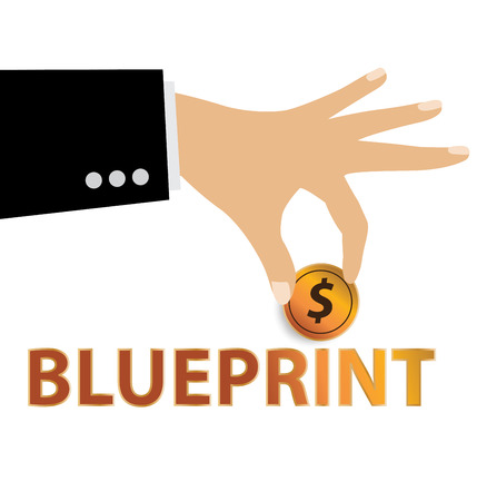 Blueprint, Financial and business concept. vector illustration.