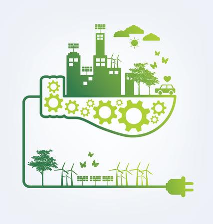 Illustration pour Ecology concept. save world vector illustration. - image libre de droit