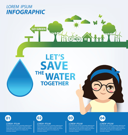 Illustration for Save water concept. Infographic template. Vector illustration. - Royalty Free Image