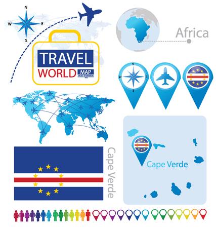 Cape Verde. flag. World Map. Travel vector Illustration ...