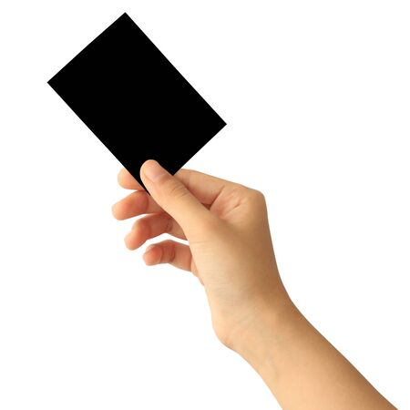 Photo pour Woman hand holding blank black paper card isolated on white background - image libre de droit