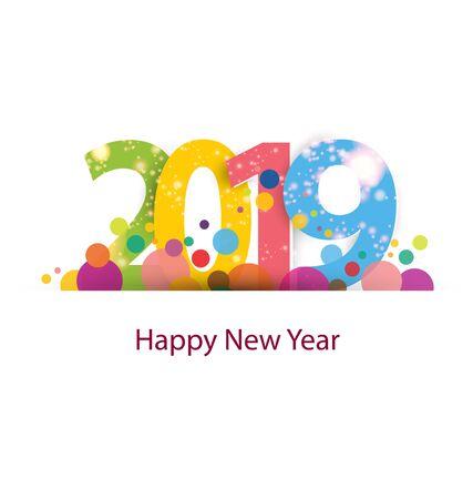 Illustration pour Happy new year 2019 - image libre de droit