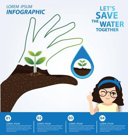 Illustration pour Save water concept. Infographic template. Vector illustration. - image libre de droit