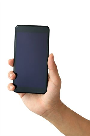 Photo pour Hand holding Smartphone with blank screen on white background - image libre de droit