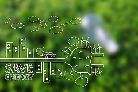 Photo pour Creative drawing ecology concept on green grass background. - image libre de droit