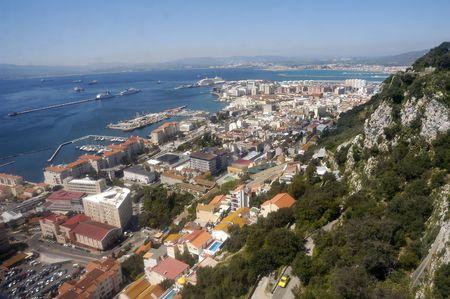 Birdview over Gibraltar seen from the rock