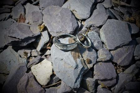 Wedding rings on slate before the wedding ceremony.