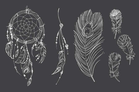 Illustration pour Dreamcatcher hippie decoration tattoo vector line. Boho style, beads and feathers. Illustration art - image libre de droit