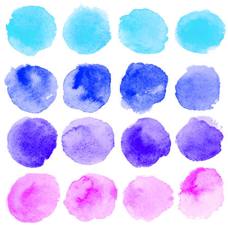 Illustration for Set of watercolor blobs, isolated on white background. Vector illustration texture - Royalty Free Image