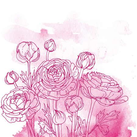 Illustration pour Flowers and herbs line on watercolor background color - image libre de droit