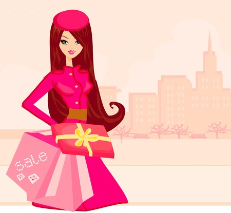 fashion shopping girl with shopping bags and gift box
