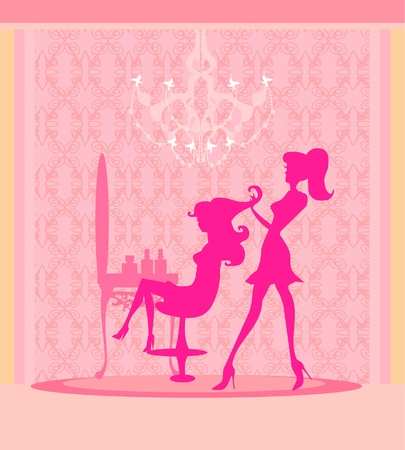 illustration of the beautiful woman in hairdressing salon .