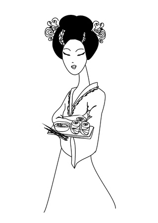 beautiful Asian girl enjoy sushi - doodle illustration