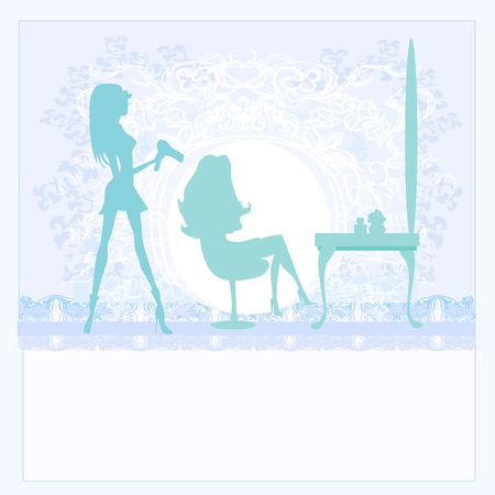 Vector illustration of the beautiful woman in hairdressing salon