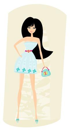 Elegant shopping woman illustration