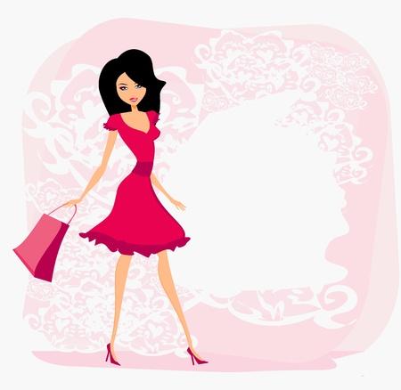 Illustration for fashion girl Shopping  - Royalty Free Image