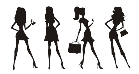 fashion shopping girls silhouettes