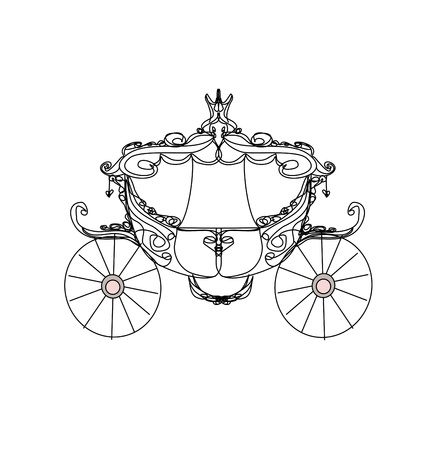 Illustration for vintage carriage - doodle icon - Royalty Free Image