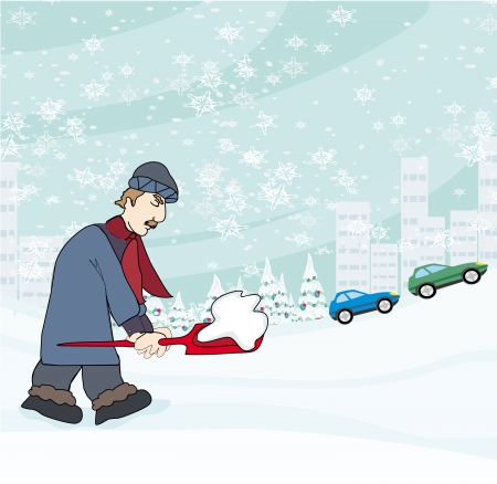Man shoveling snow from street in winter のイラスト素材