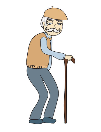 The old man on a white background, vector