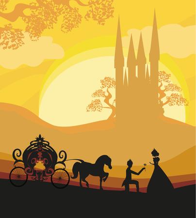 Illustration pour Prince, princess and carriage - image libre de droit